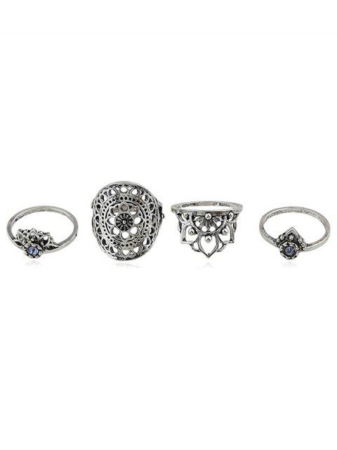 Rhinestone-hohle Blumen-Finger-Ring-Satz - Silber Einheitsgröße Mobile