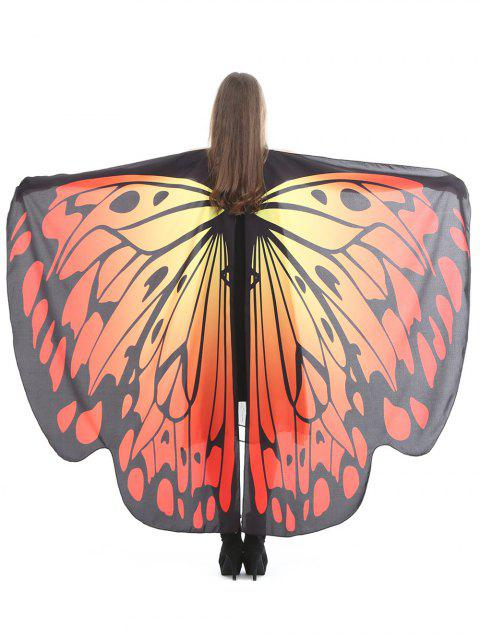 hot Vintage Butterfly Decorative Silky Shawl Scarf - TANGERINE  Mobile