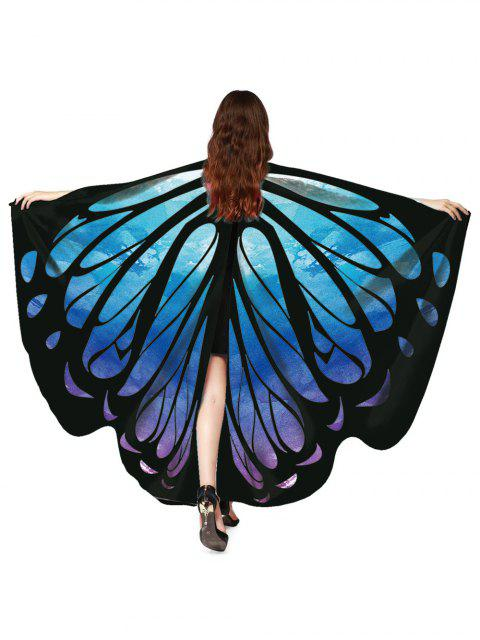 fashion Vintage Butterfly Decorative Silky Shawl Scarf - STEEL BLUE  Mobile