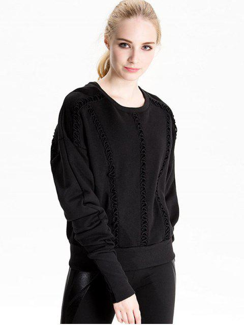 women Elongating Sleeve Crisscross Sweatshirt - BLACK M Mobile