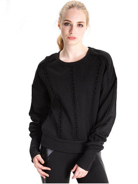 Camiseta manga larga elongating entrecruzada - Negro L Mobile