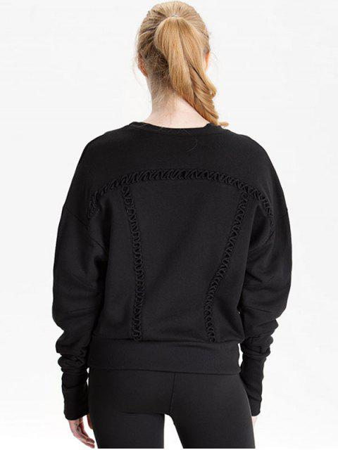 trendy Elongating Sleeve Crisscross Sweatshirt - BLACK S Mobile