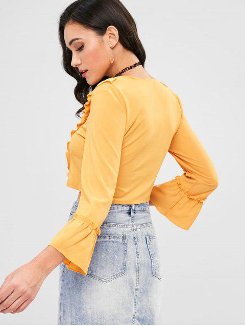 fashion Ruffle Front Lace Up Crop Top - YELLOW L Mobile