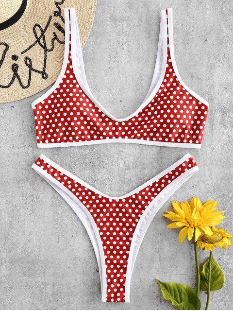 Conjunto de bikini de lunares ZAFUL de pierna alta - Castaño Rojo L Mobile