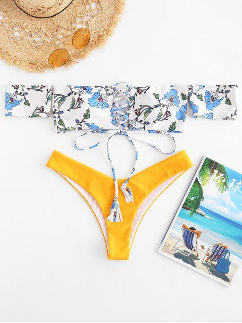 ZAFUL Off Houlder High Leg Bikini Set - Multicolor L Mobile