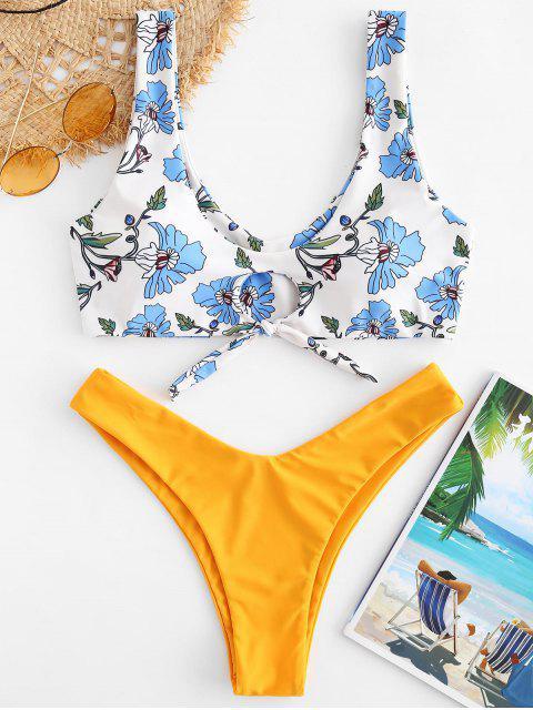 Conjunto de bikini de talle alto con flor anudada ZAFUL - Multicolor M Mobile