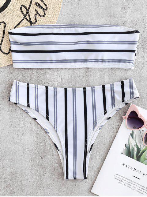 ZAFUL Conjunto de bikini bandeau acolchado a rayas - Blanco S Mobile
