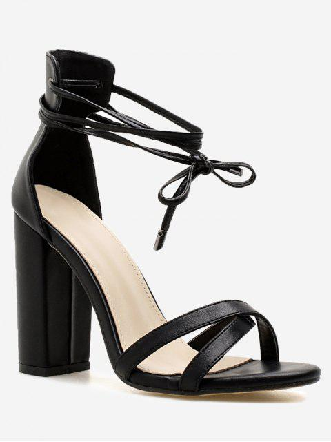 women Ankle Wrap Block Heel PU Leather Sandals - BLACK 38 Mobile
