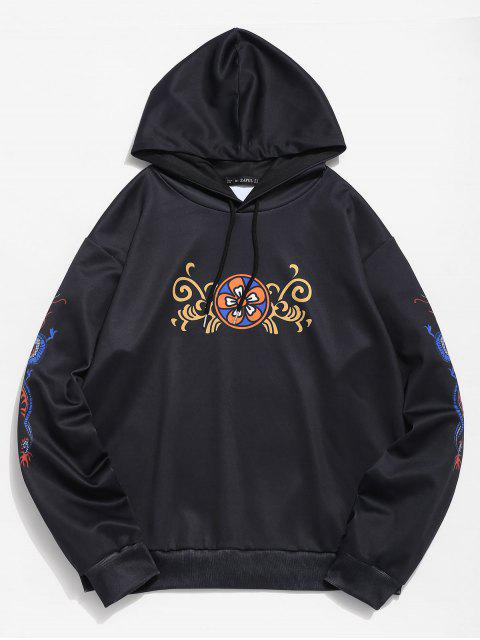 outfits ZAFUL Floral Dragon Print Hoodie - BLACK XL Mobile