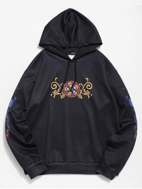 ZAFUL sudadera con capucha con estampado de dragón floral - Negro L Mobile