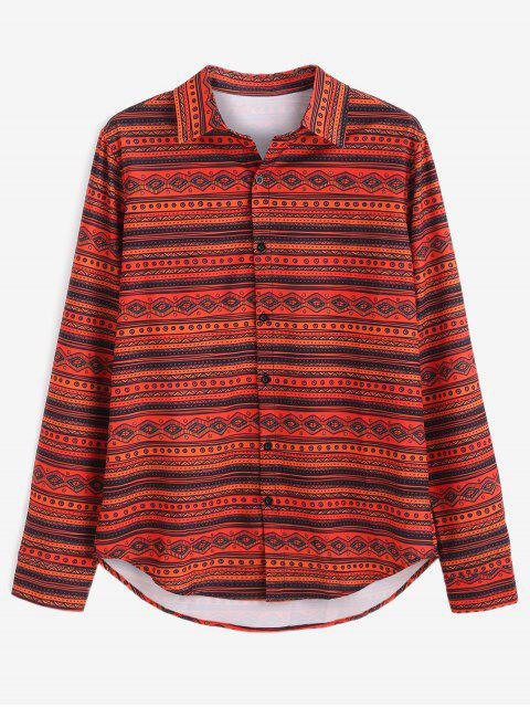 ZAFUL Ethnic Print Button Up Shirt - Multicolor 2XL Mobile