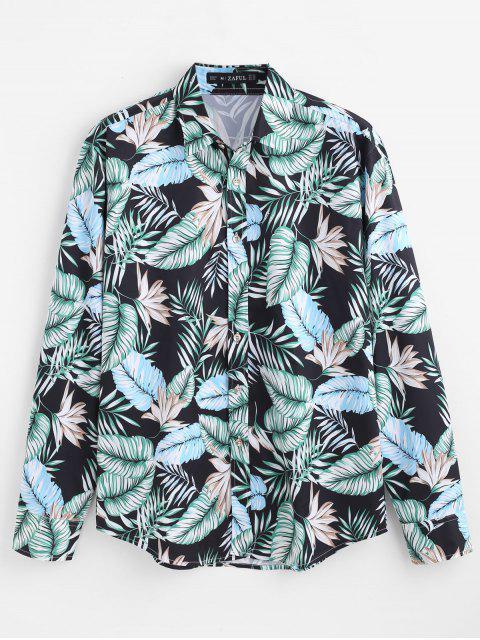 ZAFUL informal hojas tropicales impreso camisa - Multi 2XL Mobile