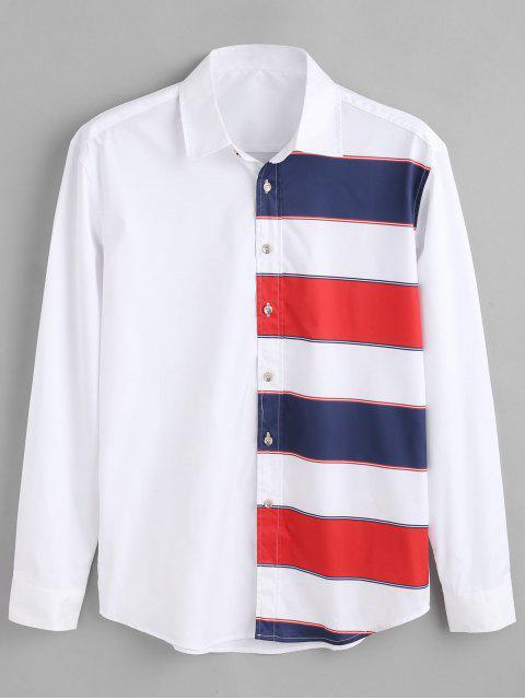 ZAFUL Color Block Stripes Print Shirt - Blanco XL Mobile