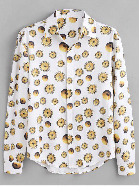ZAFUL Camisa de Botones Ocultos con Estampado de Limón - Blanco L Mobile