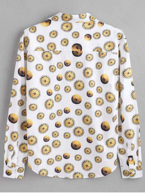 ZAFUL Camisa de Botones Ocultos con Estampado de Limón - Blanco M Mobile