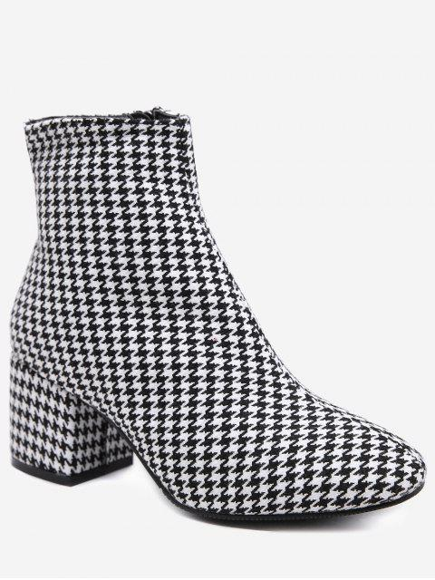 women Houndstooth Chunky Heel Ankle Boots - BATTLESHIP GRAY 39 Mobile