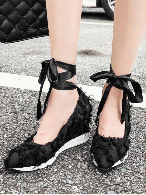 buy Lace Up Frayed Trim Satin Shoes - BLACK 38 Mobile