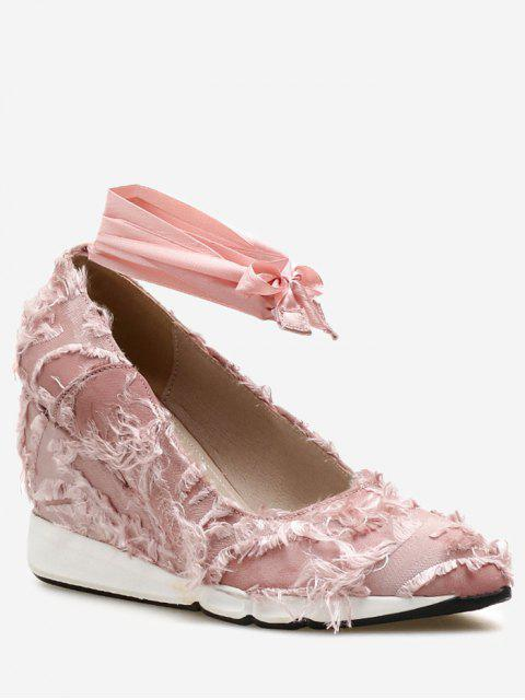 best Lace Up Frayed Trim Satin Shoes - LIGHT PINK 38 Mobile