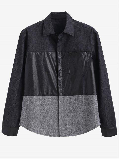 ZAFUL PU Patchwork Kontrasthemd - Rauchiges Grau XL Mobile