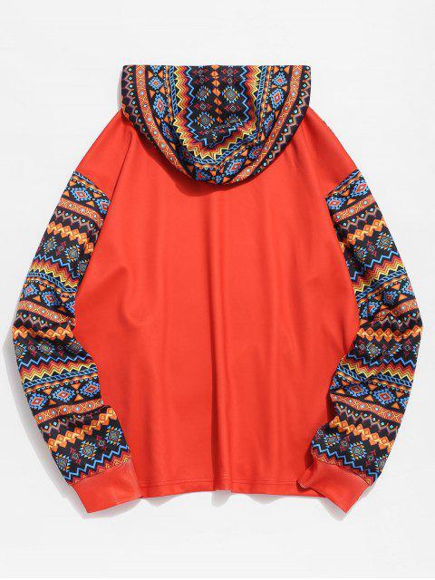 sale ZAFUL Ethnic Print Zip Pockets Hoodie - TANGERINE 2XL Mobile
