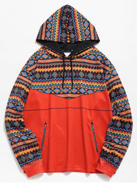 sale ZAFUL Ethnic Print Zip Pockets Hoodie - TANGERINE 2XL Mobile