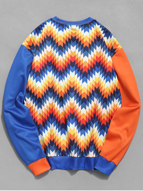 womens ZAFUL Ethnic Print Pocket Contrast Sweatshirt - MULTI XL Mobile