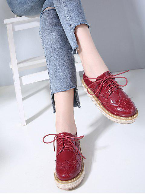 buy Patent Leather Espadrilles Sewing Sneakers - CHESTNUT RED 39 Mobile