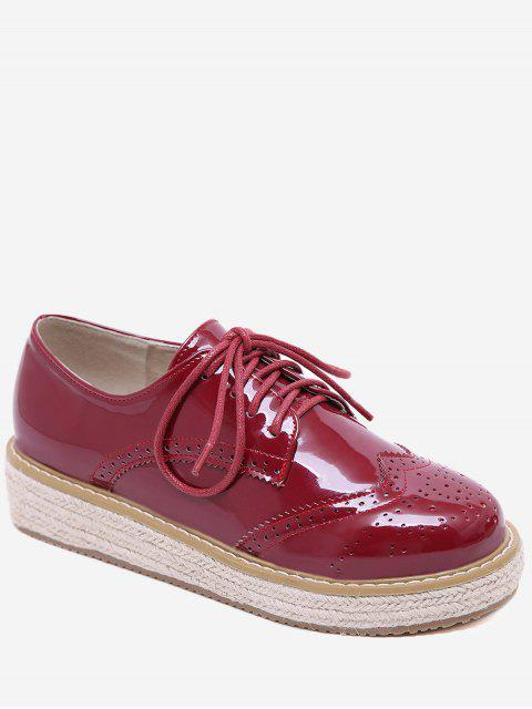 sale Patent Leather Espadrilles Sewing Sneakers - CHESTNUT RED 38 Mobile