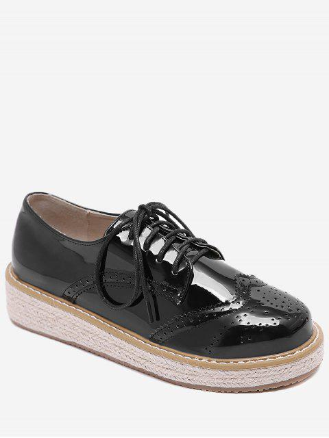 ladies Patent Leather Espadrilles Sewing Sneakers - BLACK 40 Mobile