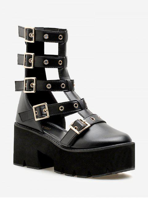 women's Buckle Strap Chunky Heel Sandals - BLACK 38 Mobile