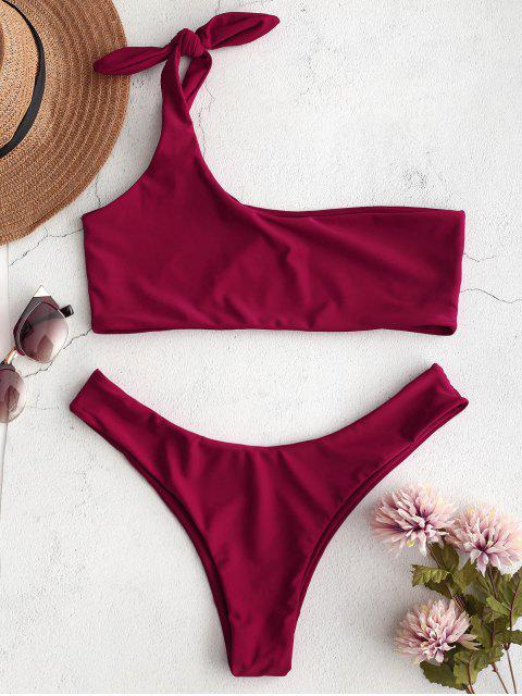 ZAFUL Bikini Bralette de un solo hombro - Vino Tinto S Mobile