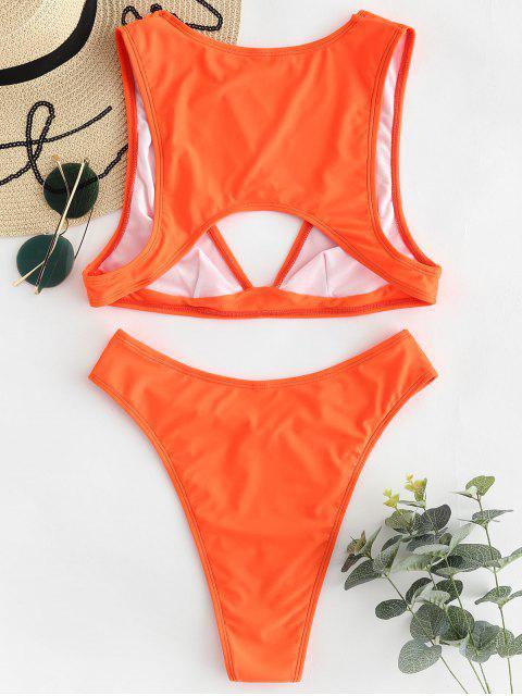 women ZAFUL V Neck High Cut Bikini Set - ORANGE S Mobile