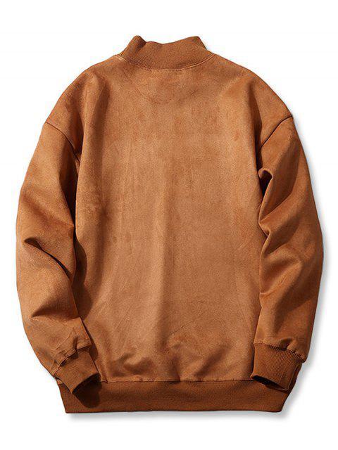 shops Chest Letter Print Solid Color Suede Sweatshirt - LIGHT BROWN XS Mobile