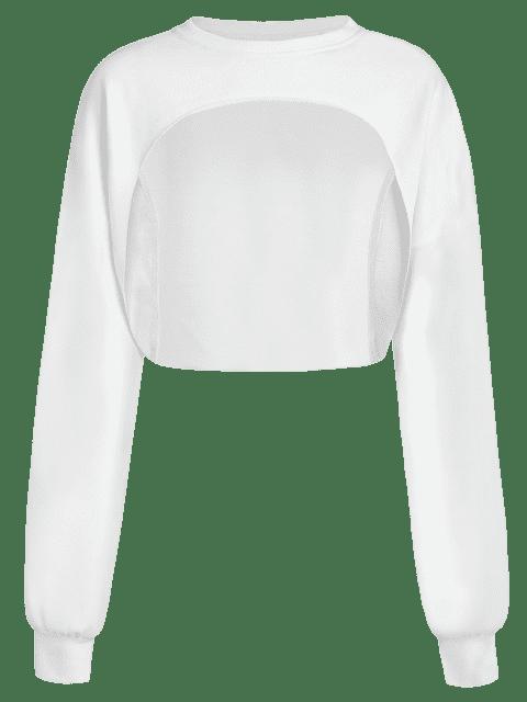 ZAFUL Sweat-shirt Court au Poitrine Ouverte à Ourlet Brut - Blanc S Mobile