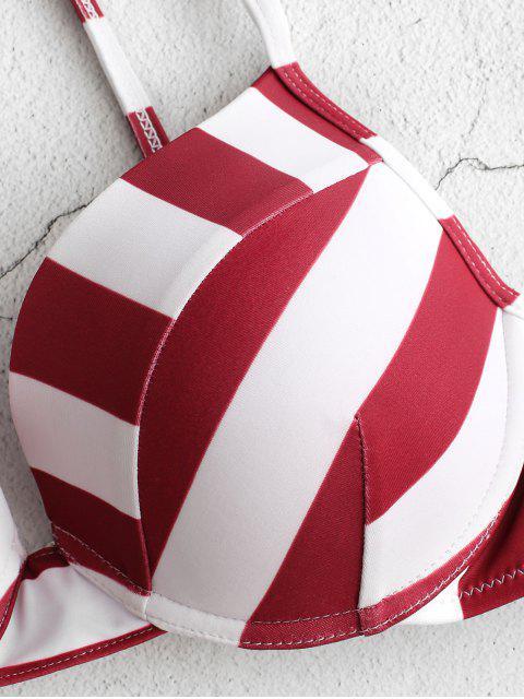 ZAFUL Conjunto de Biquíni Meia-Taça Listrado com Meia-Taça - Cor de Tijolo Refratário M Mobile