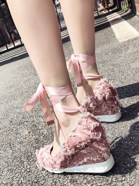 Lace Up desgastado guarnição sapatos de cetim - Luz rosa 39 Mobile