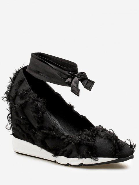 Lace Up desgastado guarnição sapatos de cetim - Preto 36 Mobile