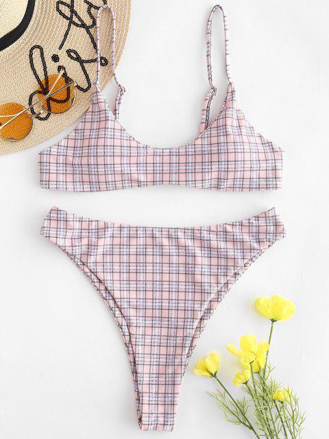 women ZAFUL High Leg Plaid Bikini Set - PINK BUBBLEGUM S Mobile
