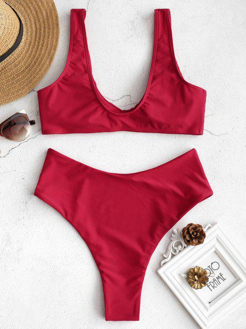 affordable ZAFUL High Waisted Scoop Bikini Set - LOVE RED S Mobile