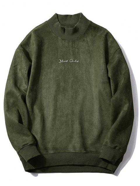 online Chest Letter Print Solid Color Suede Sweatshirt - ARMY GREEN XS Mobile