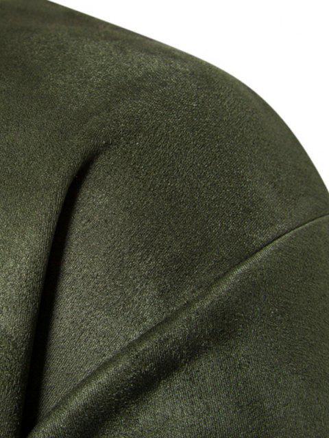 Sweat-shirt Lettre en Poitrine en Couleur Unie en Daim - Vert Armée  XS Mobile