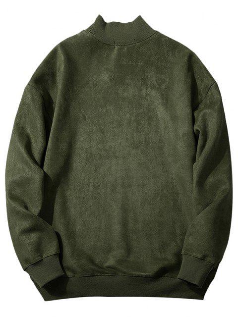 Brusttasche Buchstabedruck Wildleder Sweatshirt - Armeegrün XS Mobile
