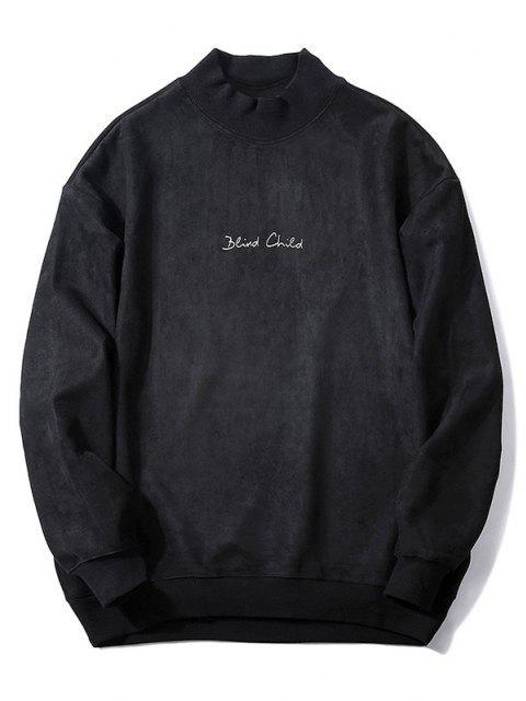 Weiche Brust Buchstabe Einfarbiger Wildleder Sweatshirt - Schwarz M Mobile