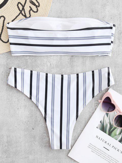 ZAFUL   Gepolstertes Bandeau-Bikini-Set mit Streifen - Weiß M Mobile