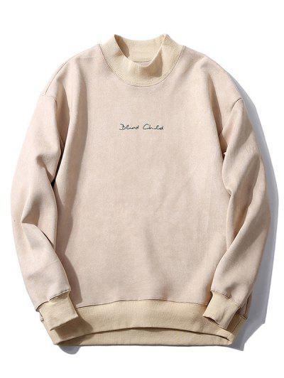 Chest Letter Print Solid Color Suede Sweatshirt - Warm White L