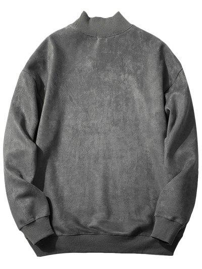 Chest Letter Print Solid Color Suede Sweatshirt, Dark gray