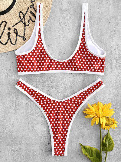 ZAFUL High Leg Polka Dot Bikini Set, Chestnut red