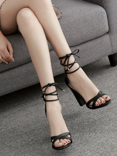 Ankle Wrap Block Heel PU Leather Sandals - Black 40