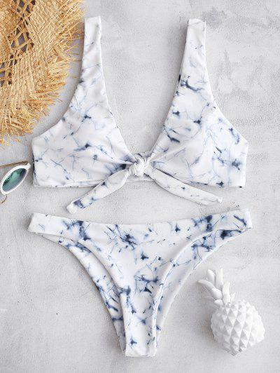 5f0e41c53874e ZAFUL Marble Tie Dye Plunge Knot Bikini - Multi S