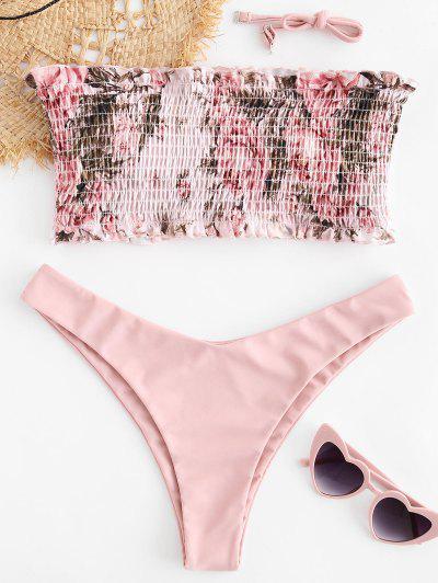 d31e4f14084f7 ZAFUL Floral Smocked Bandeau Bikini Set - Light Pink S
